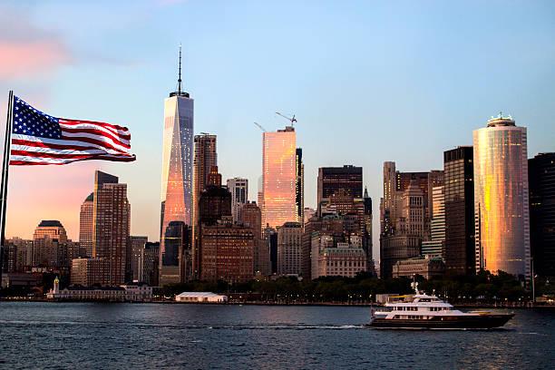 Manhattan skyline, Freedom Tower stock photo