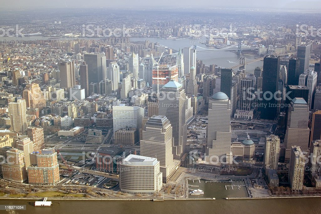 Manhattan skyline from airplane royalty-free stock photo