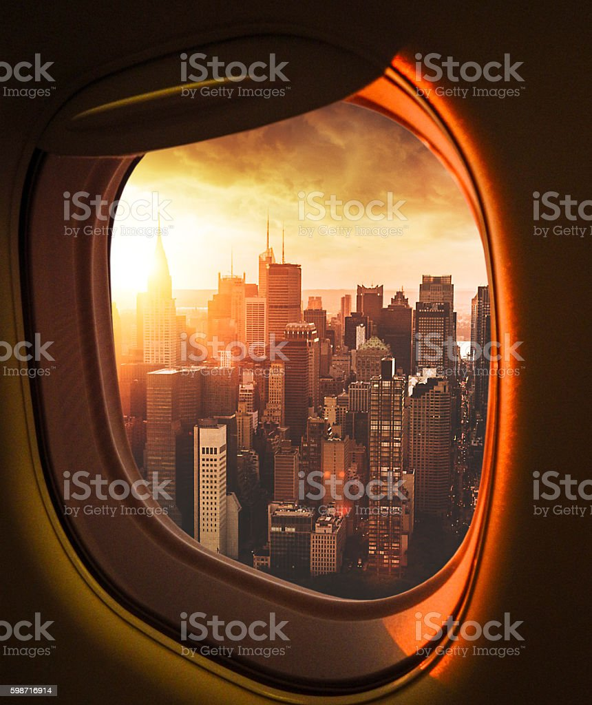 Manhattan skyline from an aerial view from the porthole stock photo