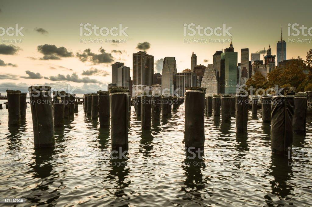 manhattan skyline from brooklyn stock photo
