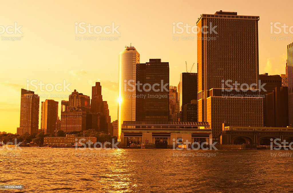 Manhattan skyline from East River - NYC royalty-free stock photo