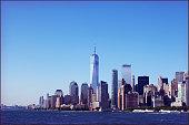 Manhattan Skyline from Hudson Rivwer. New York. USA