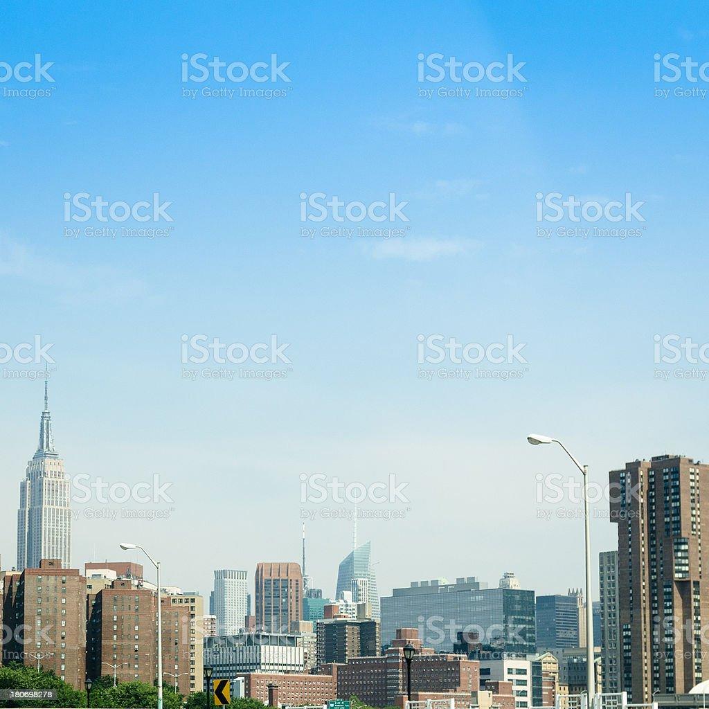 Manhattan skyline from new jersey royalty-free stock photo