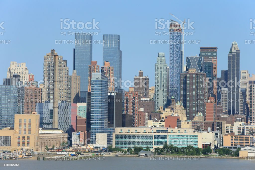 Manhattan skyline from New Jersey. stock photo