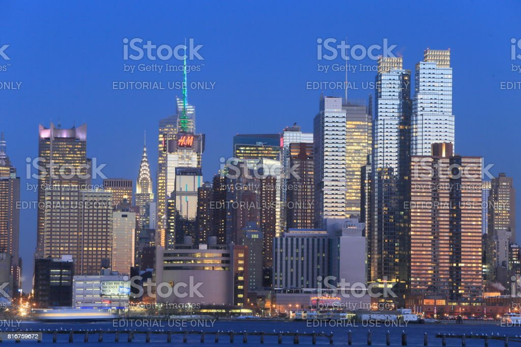 Manhattan Skyline from NJ side stock photo
