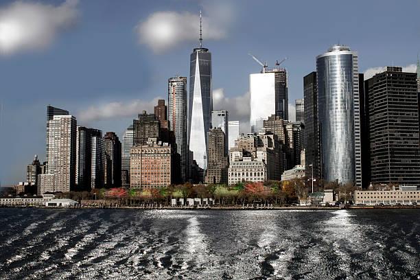 Manhattan skyline in Autumn stock photo