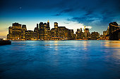 Panoramic of  a sunset on Manhattan from Brooklyn riverside
