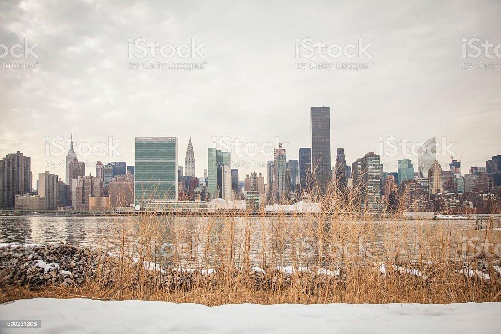 Manhattan skyline in winter time stock photo