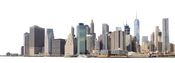 Manhattan skyline isolated on white. Panoramic view of Lower Manhattan from the Ellis Island - isolated on white. Clipping path included. manhattan financial district stock pictures, royalty-free photos & images