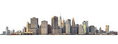 Panoramic view of Lower Manhattan from Brooklyn Heights - isolated on white. Clipping path included.
