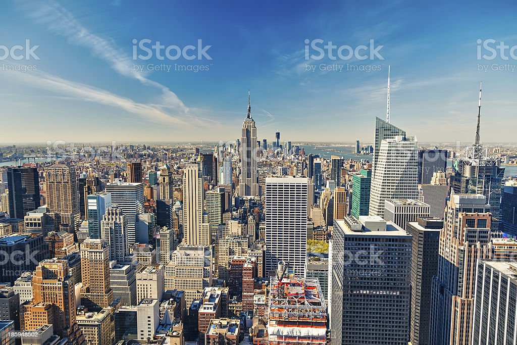 Manhattan skyline looking at the Empire State Building stock photo