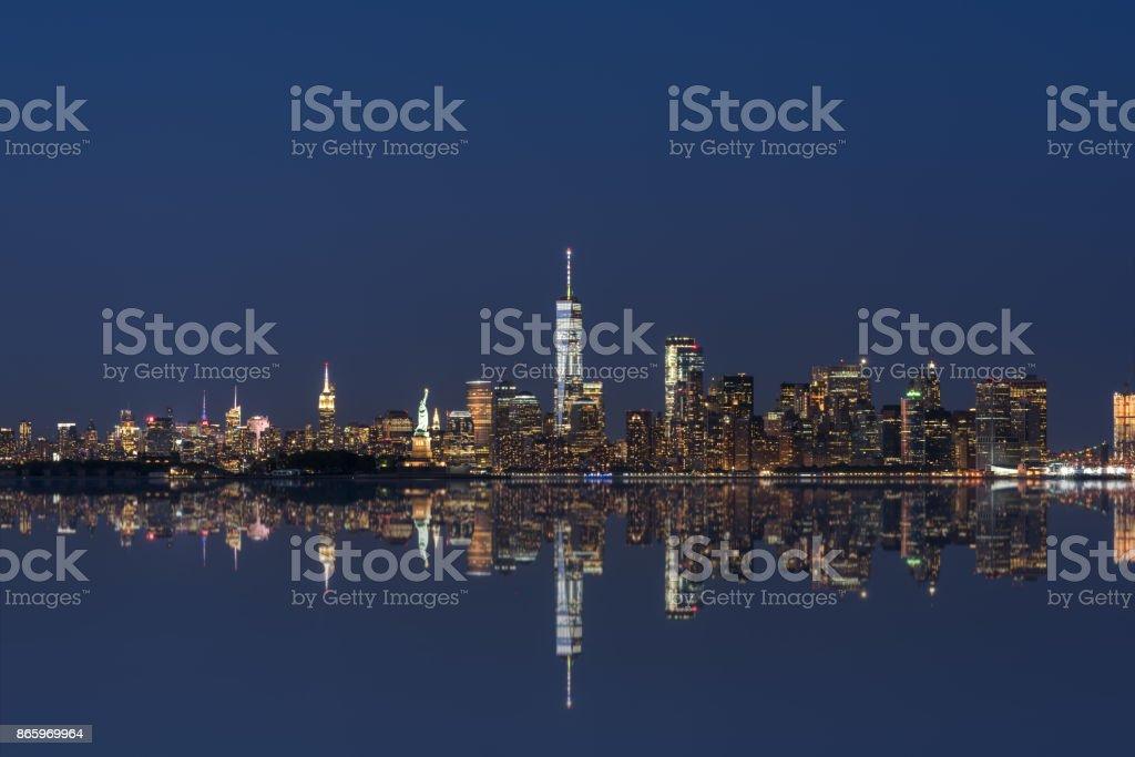 Manhattan Skyline mirror reflections stock photo