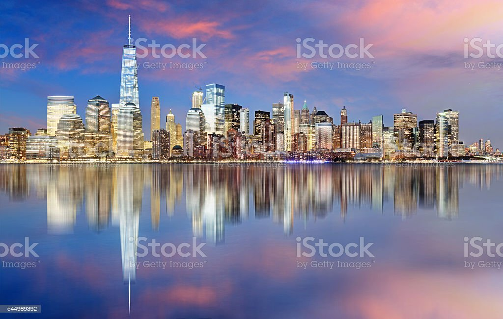 Manhattan skyline, New York City at night stock photo