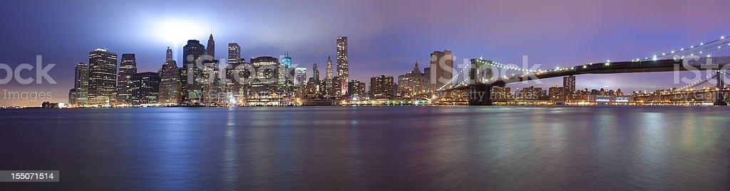 manhattan skyline on 9/11 with illumination near ground zero stock photo