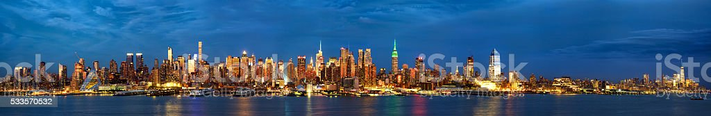 Manhattan skyline panorama at dusk stock photo