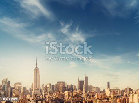 New York, Manhattan skyscrapers, downtown city finance towers panorama with a huge sky