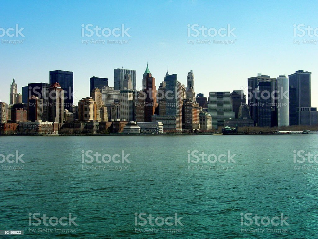 Manhattan skyline seen from a boat royalty-free stock photo