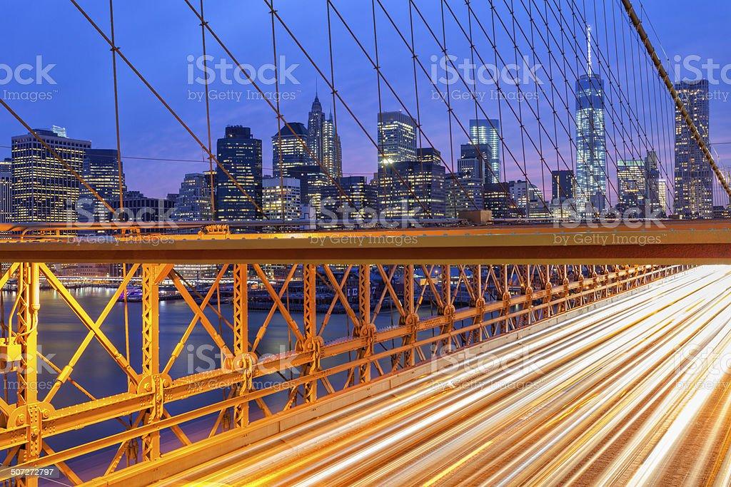 Manhattan Skyline, Traffic on Brooklyn Bridge, New York royalty-free stock photo