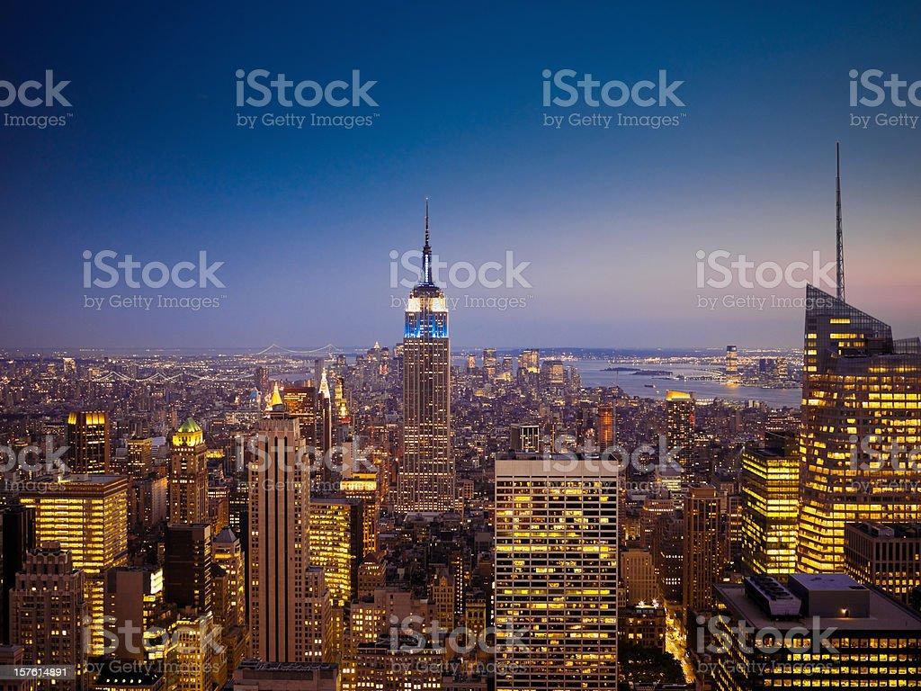 Manhattan Skyline Twilight Scene New York City royalty-free stock photo