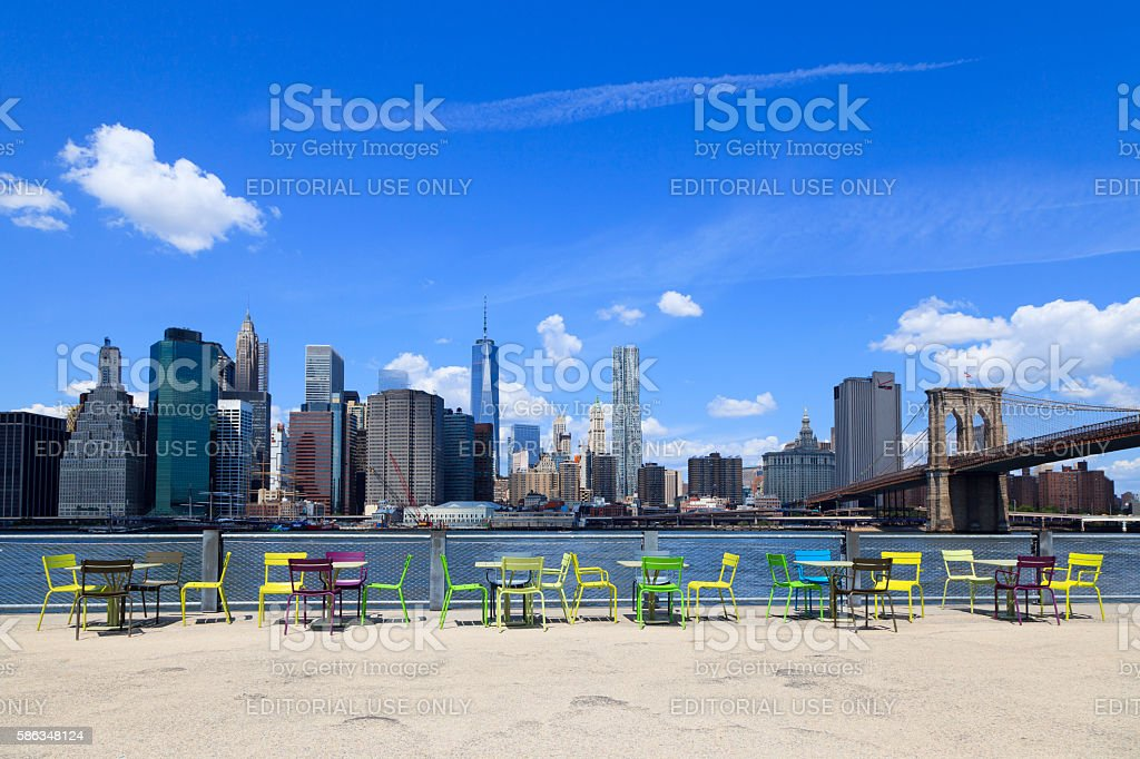 Manhattan Skyline with Brooklyn Bridge stock photo
