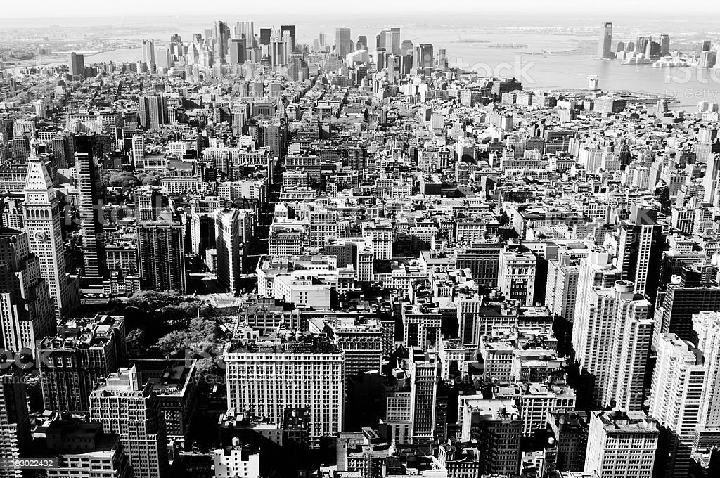 Manhattan Skyline,New York City.Black And White. royalty-free stock photo