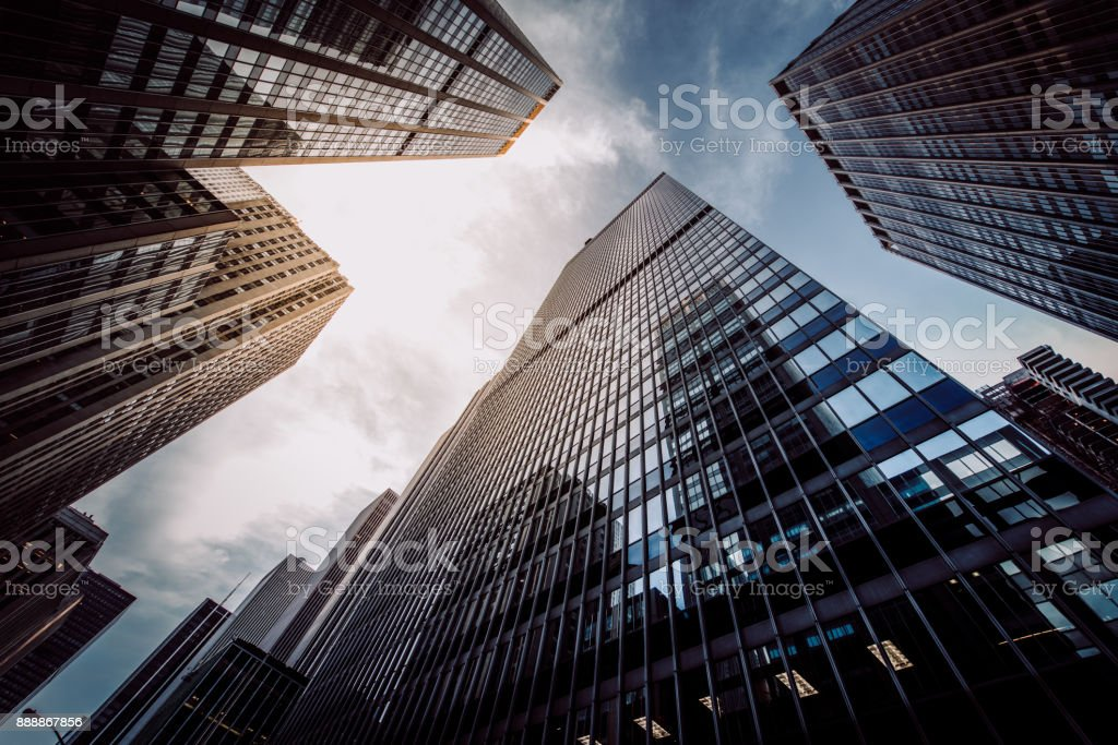 Manhattan Skyscapers Wall Street Financial District New York City stock photo