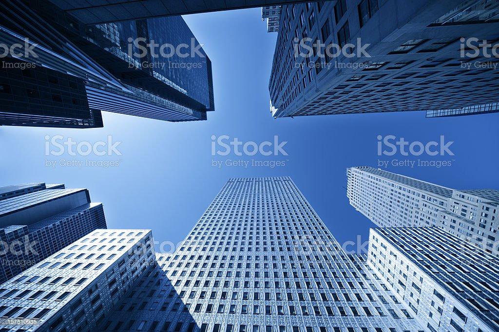 manhattan skyscraper against clear blue sky royalty-free stock photo