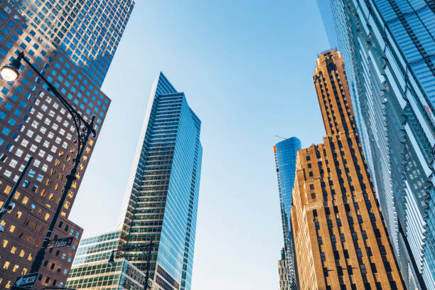 Manhattan skyscrapers in New York City, the USA stock photo