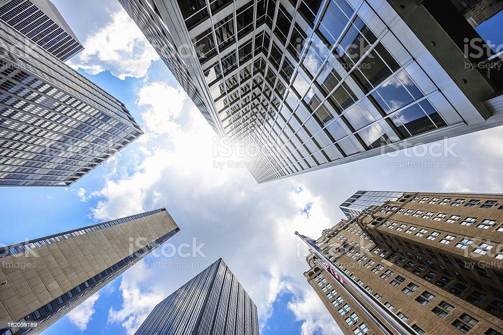 Manhattan Skyscrapers Office Buildings New York City Sunny Sky royalty-free stock photo