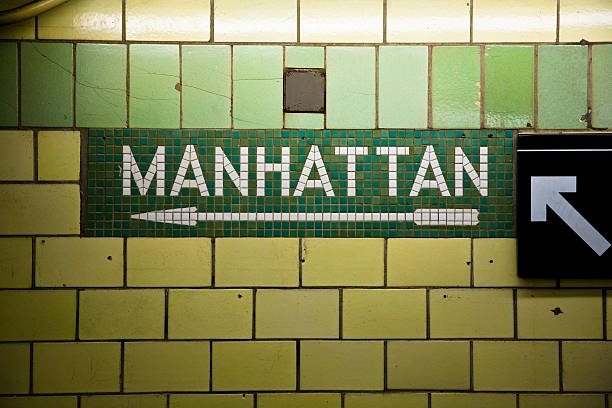 manhattan subway sign - halbergman stock pictures, royalty-free photos & images