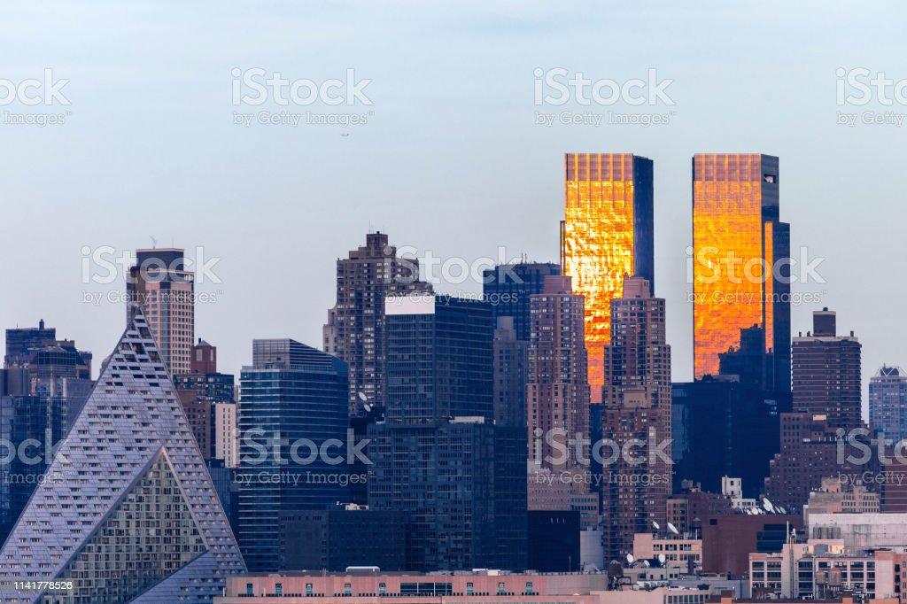 Manhattan sunset, New York City stock photo