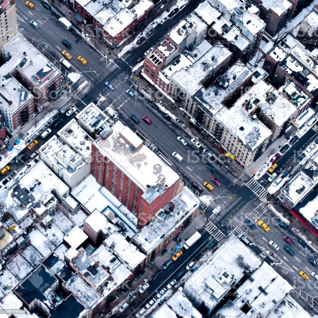 Manhattan Taxis and Streets with Snow, New York City stock photo