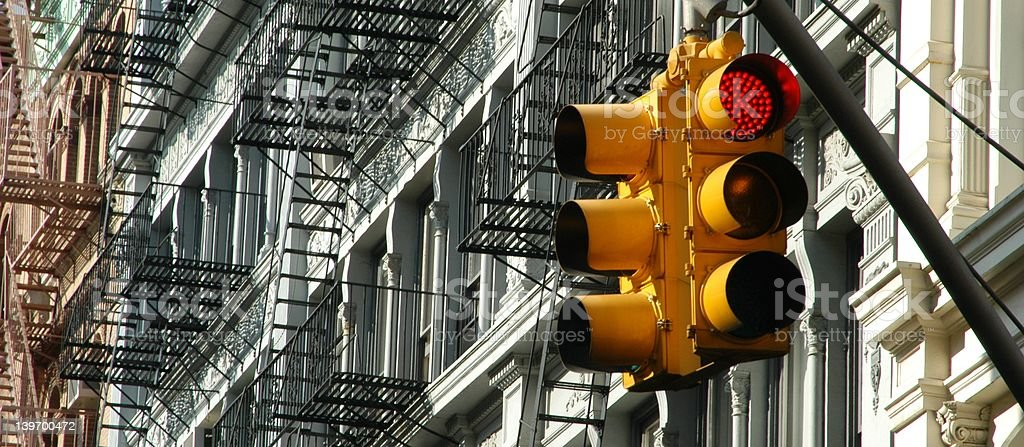 Manhattan traffic lights with SoHo facades royalty-free stock photo