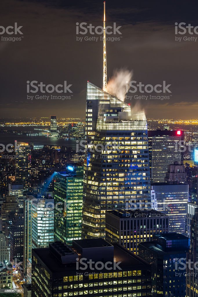 Manhattan view at night stock photo