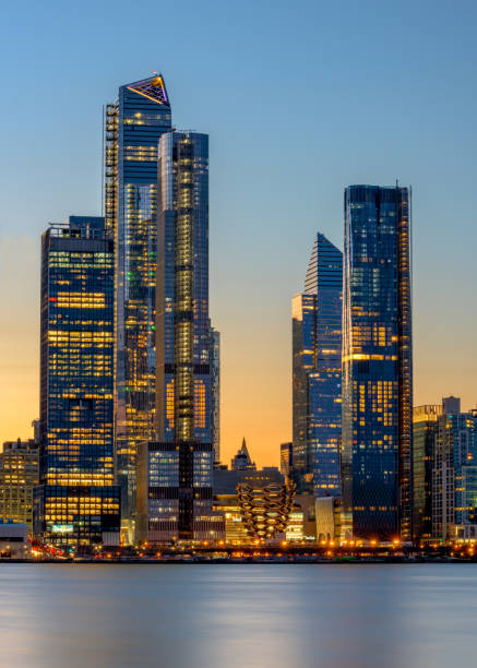 Manhattan view from Jersey City at sunrise break of dawn the color of the sky and the lights of the Manhattan skyline hudson river stock pictures, royalty-free photos & images