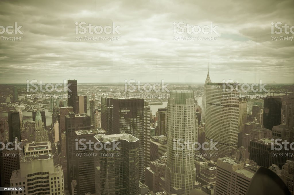 Manhattan view from Rockfeller Center dark green effect stock photo