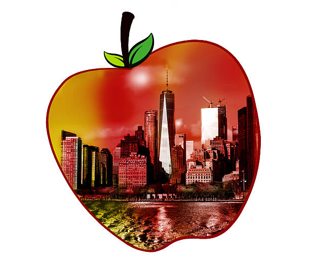 Manhattan view in shape of an apple stock photo