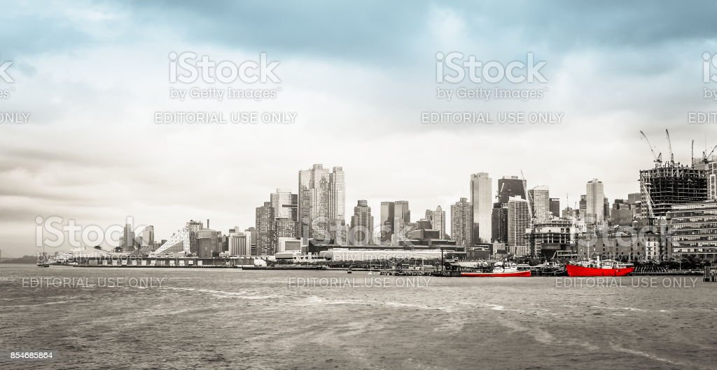 Manhattan Waterfront Cityscape along the Hudson River Greenway from Pier 66. stock photo