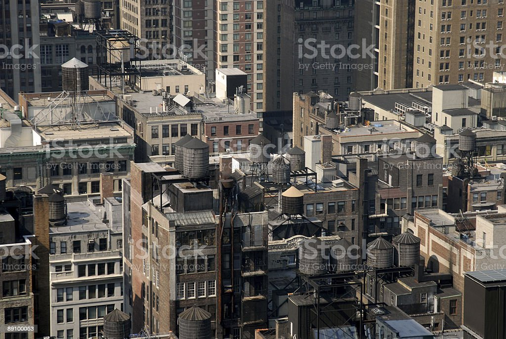 Manhattan watertowers royalty-free stock photo