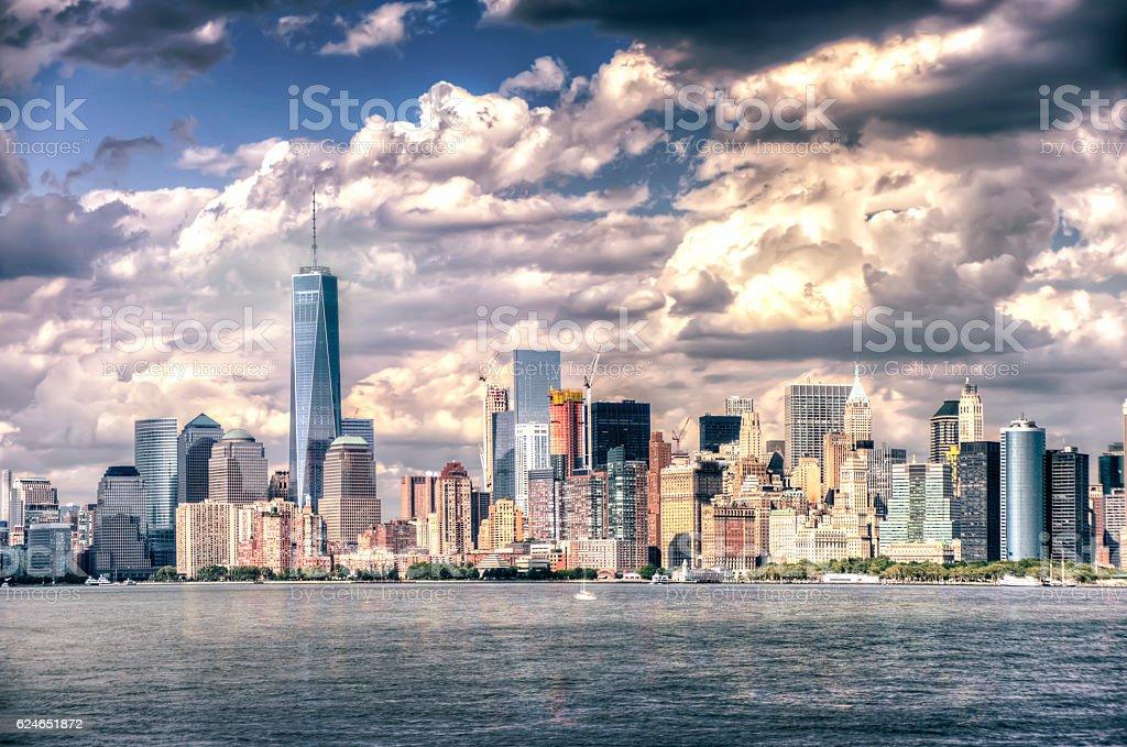 Manhattan with cloudy sky. New York. stock photo