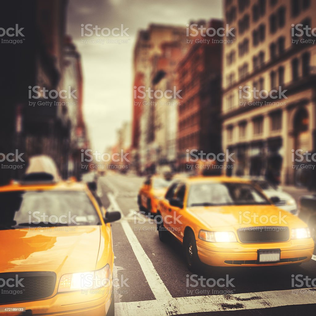Manhattan with taxi cab on the street stock photo