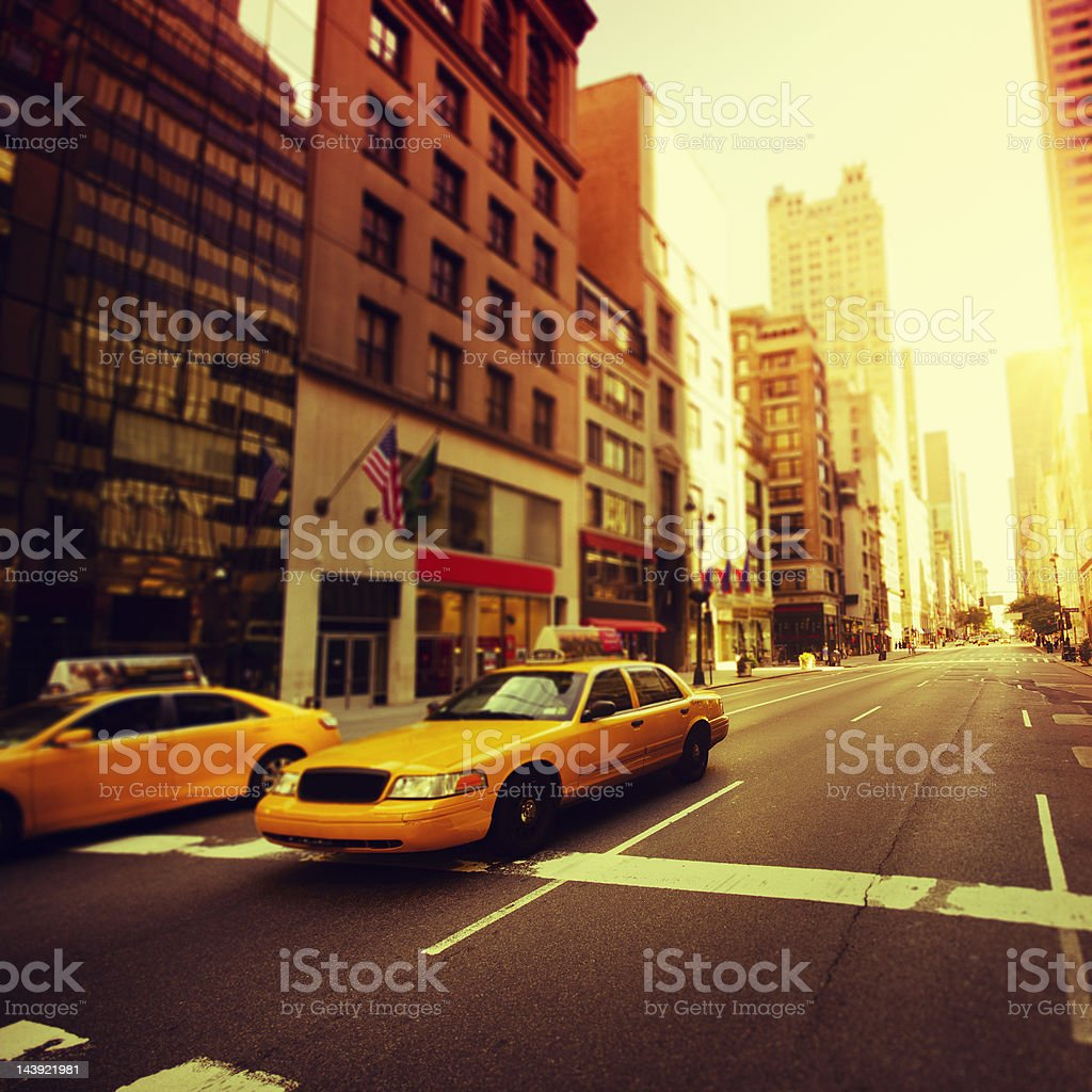 Manhattan yellow cab taxi  on 5th Avenue royalty-free stock photo