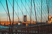 Manhattand Bridge at Sunset from Brooklyn Bridge