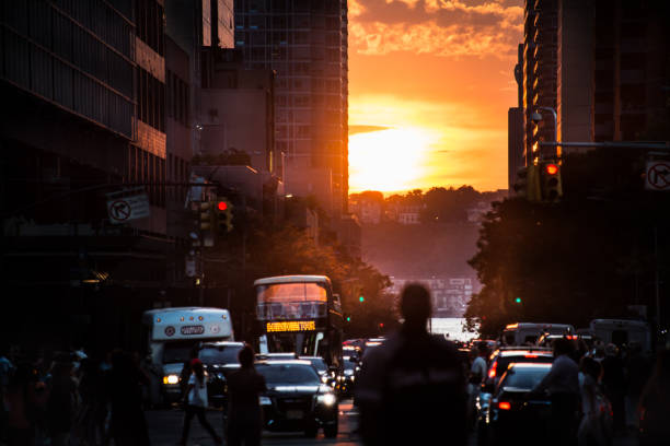 Manhattanhenge 2018 42nd Street stock photo