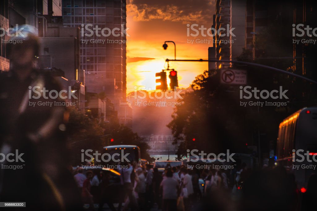 Manhattanhenge 2018 42nd Street #2 stock photo
