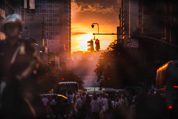 Manhattanhenge 2018 42nd Street #2 stock photo