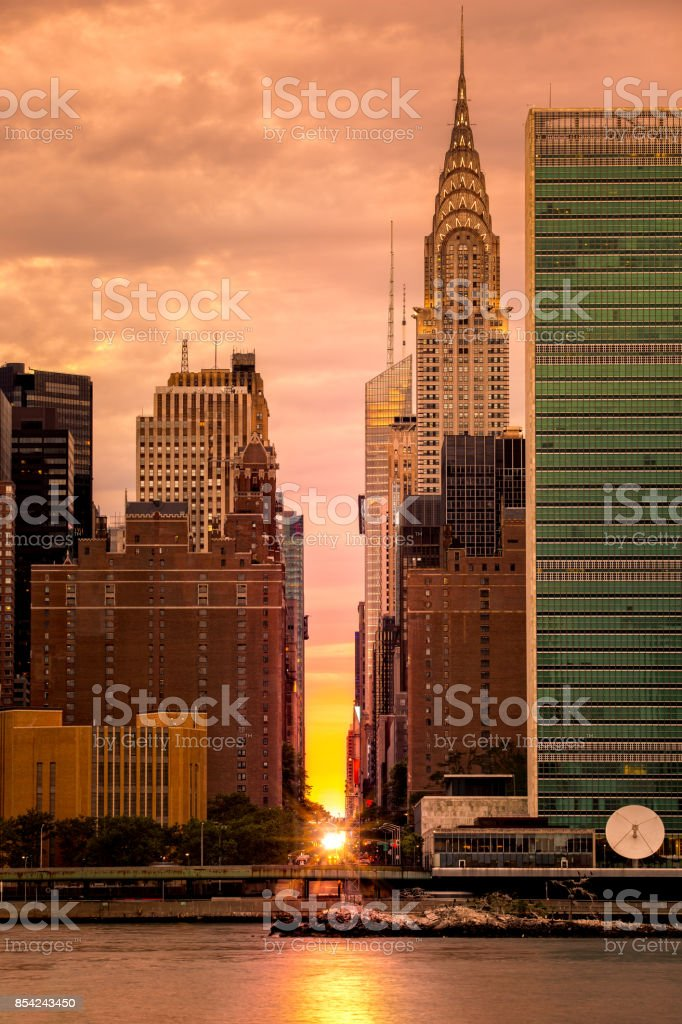 Manhattanhenge in NYC stock photo
