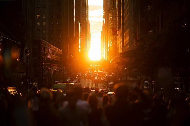 Manhattanhenge New York City Sunset stock photo