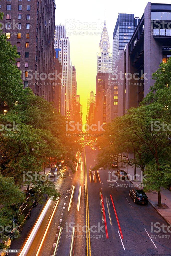 Manhattanhenge, NYC. stock photo