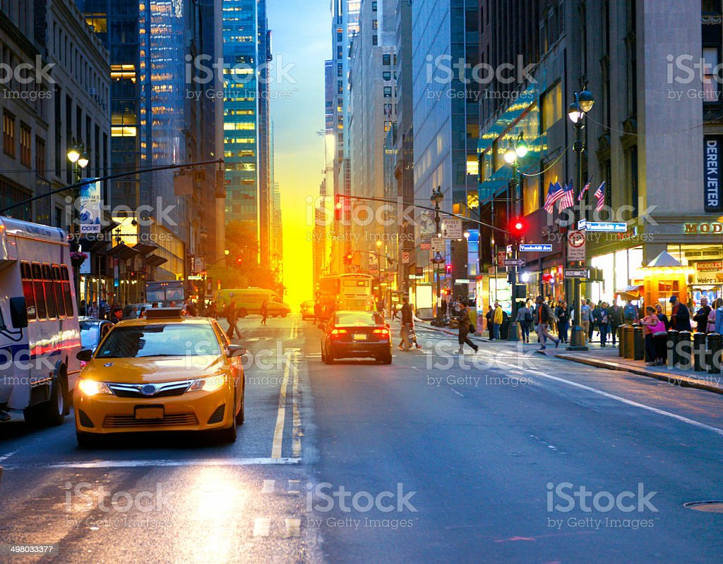 Manhattanhenge, NYC. stock photo
